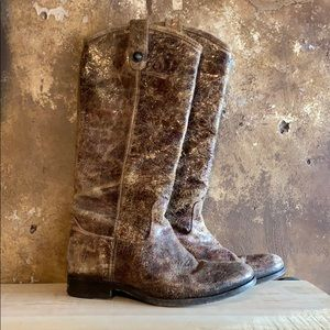 Distressed Frye Melissa Button Boots